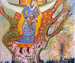 Cosmic tree of life wiith girl and rabbit