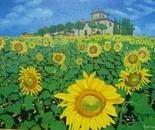 LG 0021 - Toscana fattoria con girasoli - olio su tela - cm. 60x40