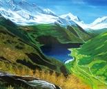 LG 0024 - Piemonte il lago di Ceresole - olio su tela - cm. 80x52