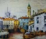 LG 0043 - Milano la vecchia darsena - olio su tela - cm. 70x50