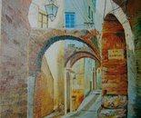 LG 0045 - Liguria il carrugiu - olio su tela - cm. 30x40