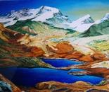 LG 0054 - Piemonte Gran paradiso lago di trois becs - olio su tela - cm. 60x40