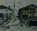 LG 0058 - Val Gardena Casa David e Sottanives - china colore su cartoncino - cm. 30x25