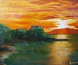 LG 0063 - Calabria tramonto a Scilla - olio su tela - cm. 40x30