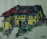 LG 0073 - Val Gardena casa Daunei - china colore su cartoncino - cm. 30x25