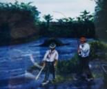 LG 0076 - Pescatori alla mosca - olio su tela - cm. 40x50