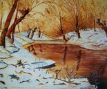 LG 0081 - Inverno al fiume - olio su tela - cm. 50x40