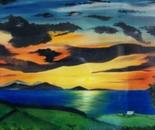 LG 0083 - Toscana tramonto sull'Elba - olio su tela - cm. 80x45