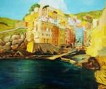 LG 0092 - La Spezia Cinque terre Rio Maggiore - olio su tela - cm. 50x60