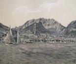 LG 0122 - Lecco vista dal lago - china su cartoncino - cm. 30x21