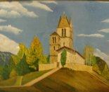 LG 0133 - Svizzera Chiesa d'Engadina - olio su tela -cm. 40x30