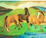 LG 0141 - Cavalli in libertà - olio su tela - cm. 60x40