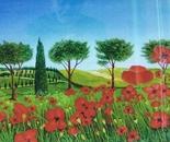 LG 0151 - Toscana Rosolacci in fiore - olio su tela - cm. 60x40