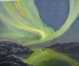 LG 0163 - Norvegia Aurora Boreale - olio su tela -cm. 40x30