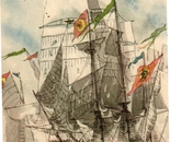 LG 0167 - Il Vascello S.Francesco di Paola - china e pastelli su cartoncino - cm. 21x30
