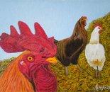 LG 0215 - Il gallo e le galline - olio su tela - cm. 24x18