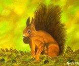 LG 0223 - Lo scoiattolo Rossetto - olio su tela - cm. 24x18