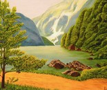 LG 0247 - Il lago di Braies Bolzano - olio su tela - cm.40x30