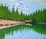 LG 0257 - Il lago Verde Valle D'Aosta - olio su tela - cm. 40x30