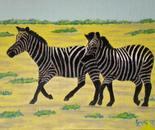 LG 0280 - Le zebre - olio su tela . cm. 24x18