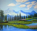 LG 0282 - Val d'Aosta il monte Bianco - olio su tela - cm. 60x40