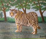 LG 0284 - Tigre del Bengala - olio su tela -cm. 24x18