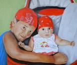 LG 0326 - I-piccoli Simone Eugenio e Serena Francesca - olio su tela - cm. 40x50