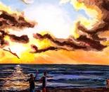 Kites at sunset 2