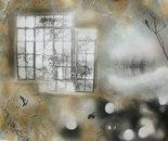 Bird Through Window in Fog I