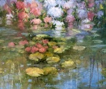 Hydrangeas on Pond. Oil. 40x40