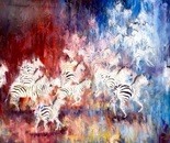 Zebra Herd. Oil. 48 X 60