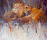 Lions at Rest. Oil. 36x48