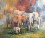 Elephant Family. Oil. 30x40
