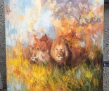 Lions.  Oil. 30x40