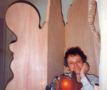 The Artist in 1983 with the working model and the first stabile