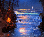Moonlight Pathway on the Shore