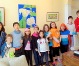 Exploring the World Through Art Spring Break Camp March 28 - April 1, 2016, Instructor Natalya B. Parris; students and volunteers visited GFAA exhibit at the Kentlands Mansion on March 29