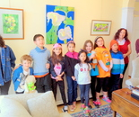 Instructor Natalya B. Parris with her students and volunteers visited GFAA exhibit at the Kentlands Mansion on March 29; Exploring the World Through Art Spring Break Camp March 28 - April 1, 2016