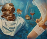 ,,Mermaid song''-oil on canvas-81x60cm .Suprarealist painting