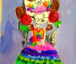 """Day of the Dead Mexican Holiday"" student's artwork; Exploring the World Through Art Spring Break Camp March 28 - April 1, 2016"