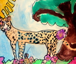 "Student's artwork ""Travel to Africa""; Exploring the World Through Art Spring Break Camp March 28 - April 1, 2016"