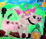 Student's artwork; Chinese Zodiac Year of the Pig; Exploring the World Through Art Spring Break Camp March 28 - April 1, 2016