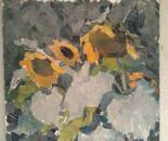 "Sunflowers ""oil \ cardboard 33h34.5 1970 Shavrina Valentine 1936-1990 gg"