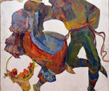 The painting of a series of dances of the peoples of the world. canvas \ oil 80x80