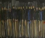 Warten auf den Zug, acrylic on canvas, 100 x 200 cm, 2015