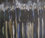 Menschen in der Stadt, acrylic on canvas, 60 x 60 cm, 2015