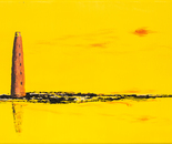 Sandbank im gelben Licht, acrylic on canvas, 40 x 80 cm, 2015
