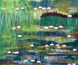 The water lily pond, Oil and acrylic 60cm/60cn, 2cm