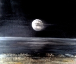 Dark moon 40H/40W cm, 2cm, Acrylic with structure. A full moon night on the beach