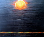 Red moon, the extraordinary natural phenomena, 50H-60W cm, 2cm. acrylic laquered like a japanese laquer box.